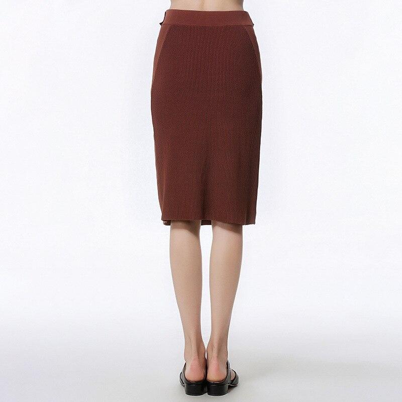 2019 mode décontracté longue jupe femmes café élasticité taille haute droite Femme formelle genou-longueur jupes tricoté jupe - 3