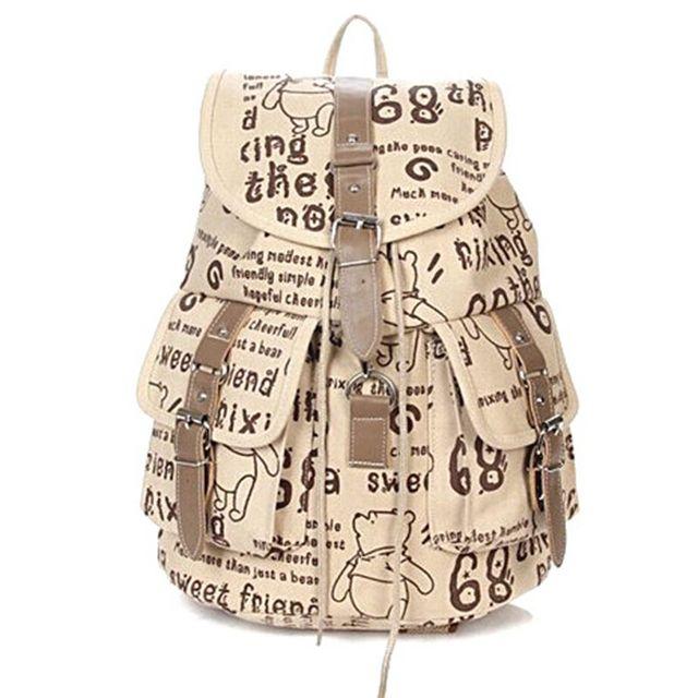 Novo 2014 Lona moda mochila mulheres viajar sacos de escola dos desenhos animados mochila casuais atacado frete grátis