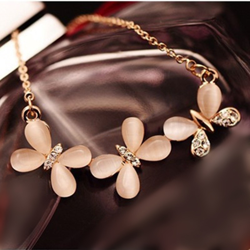 Korean Fashion Elegant Luxury Sparking Rhinestone Opal Necklaces Clavicle Chain Short Necklace Fashion Jewelry