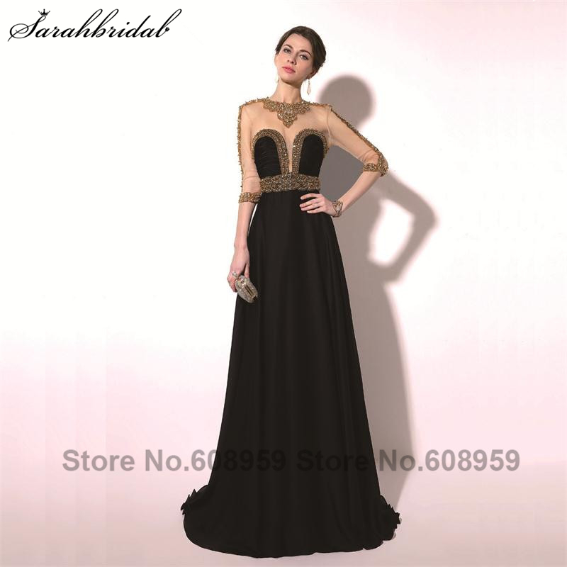 Elegant Black Sexy Sheer Beading Backless Women   Prom     Dresses   Fashion Half-Sleeves Evening Party Gowns Real Picture TZ016