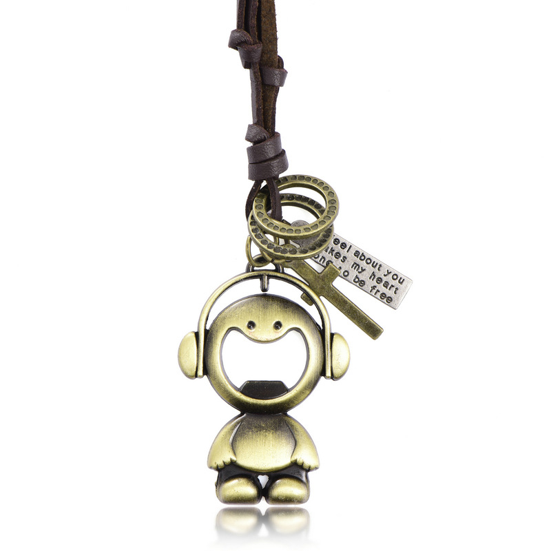 RONGQING 10pcs/lot Cute Cartoon Music Monkey Laughing Pendant Leather Necklace for Women Cloth Accessories