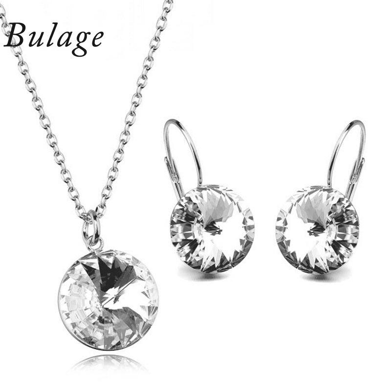 bastante agradable 9b060 af0d9 € 10.52 30% de DESCUENTO 2017 cristales originales Bella conjuntos de joyas  colgantes redondos collares de cristal de Swarovski Piercing pendiente ...