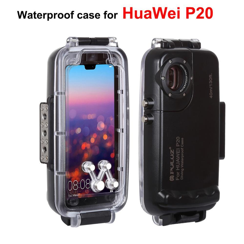 PULUZ 40 m Plongée étui pour Huawei P20 Photo Vidéo Etui sports nautiques Étanche coque pour Huawei P20