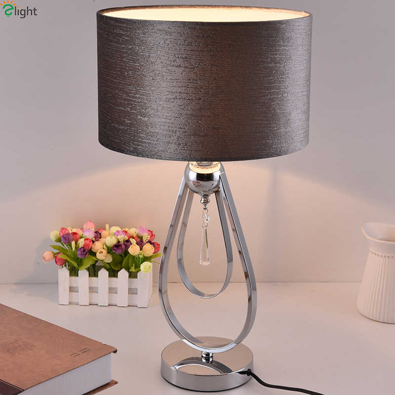 Modern Chrome Metal Led Table Bedroom Fabric Shade Led Table Lights Fixtures Living Room Led Table Light Decoration Desk Lamp