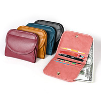Cowhide wallet lady 2019 new short folding coin bag zero wallet RFID Japanese wallet
