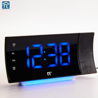 Fm Radio Alarm Clock Led Digital Electronic Table Projector Watch Time Projection Rotating Thermometer Snooze Desktop Clocks