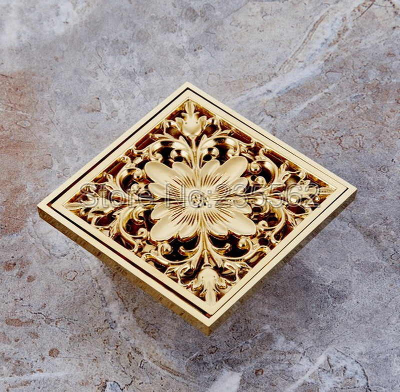 Luxury Gold Color Brass Square Bathroom Floor Drain Waste Grate Shower Drainer lhr027 high quality gold solid brass 4 inch 100 100mm square deodorant bath floor drain shower waste water drainer