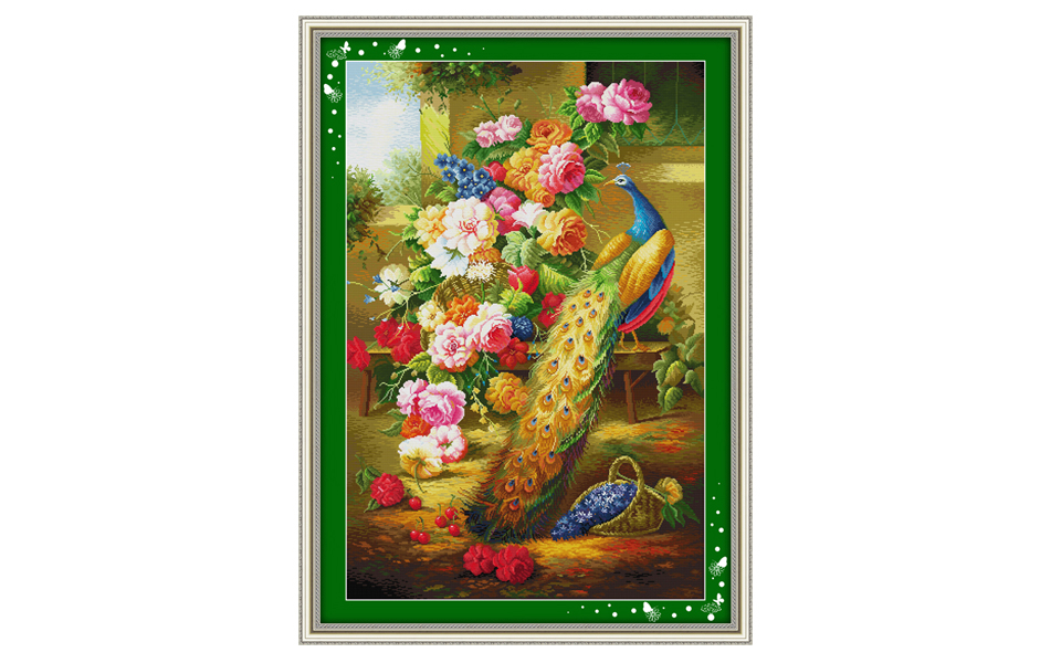 Beautiful peacock animal pattern cross stitch, peacock flowers 11CT 14CT suite embroidery with Chinese characteristics