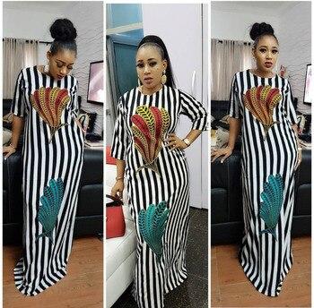 63f77955c37 BAIBAZIN africain dashiki riche robe pour femmes couleur noir et blanc  plume imprimé lâche grande taille robe