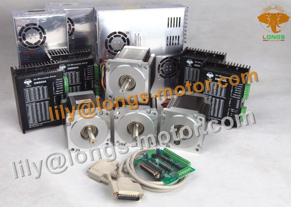 4Axis Nema34 Stepper Motor 878OZ In 2 0A DUAL SHAFT 34HST9805 02B2 Driver DM860A 256 Micsteps
