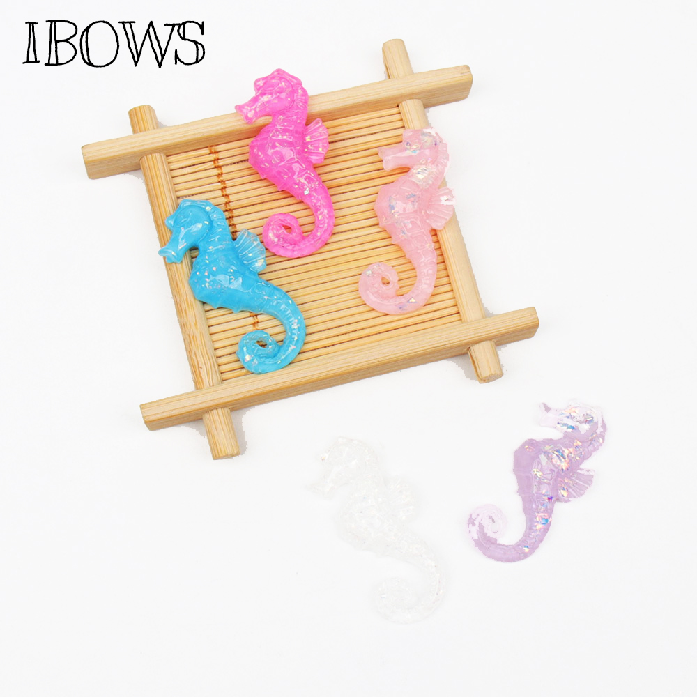 IBOWS 10pcs Flat Back Resin Seahorse Flatback Resin Cabochon For Phone Decoration DIY Hair Bow Accessories Scrapbook Crafts