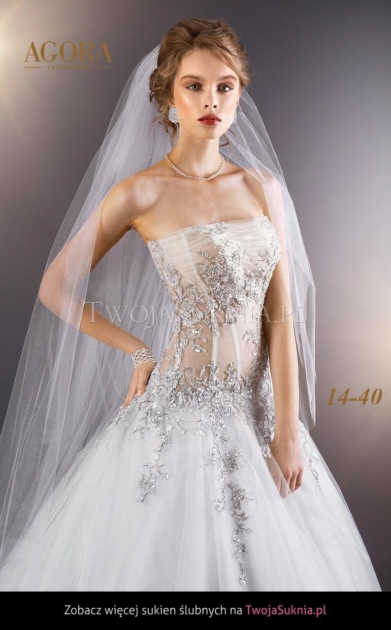 White Wedding Dresses AG1440 Beaded Silver Appliqued Drop Waist Ball ...