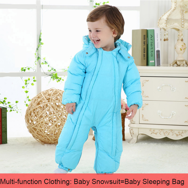 Newborn snowsuit new winter boys girls multi function thickening baby snow wear one-piece coveralls hooded toddler outfits
