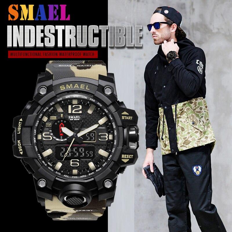 Nouveau 2019 SMAEL Sport montre digitale En Plein Air Désert Camouflage Militaire led Affichage montres-bracelets Pour Hommes Horloge Relogio Masculin