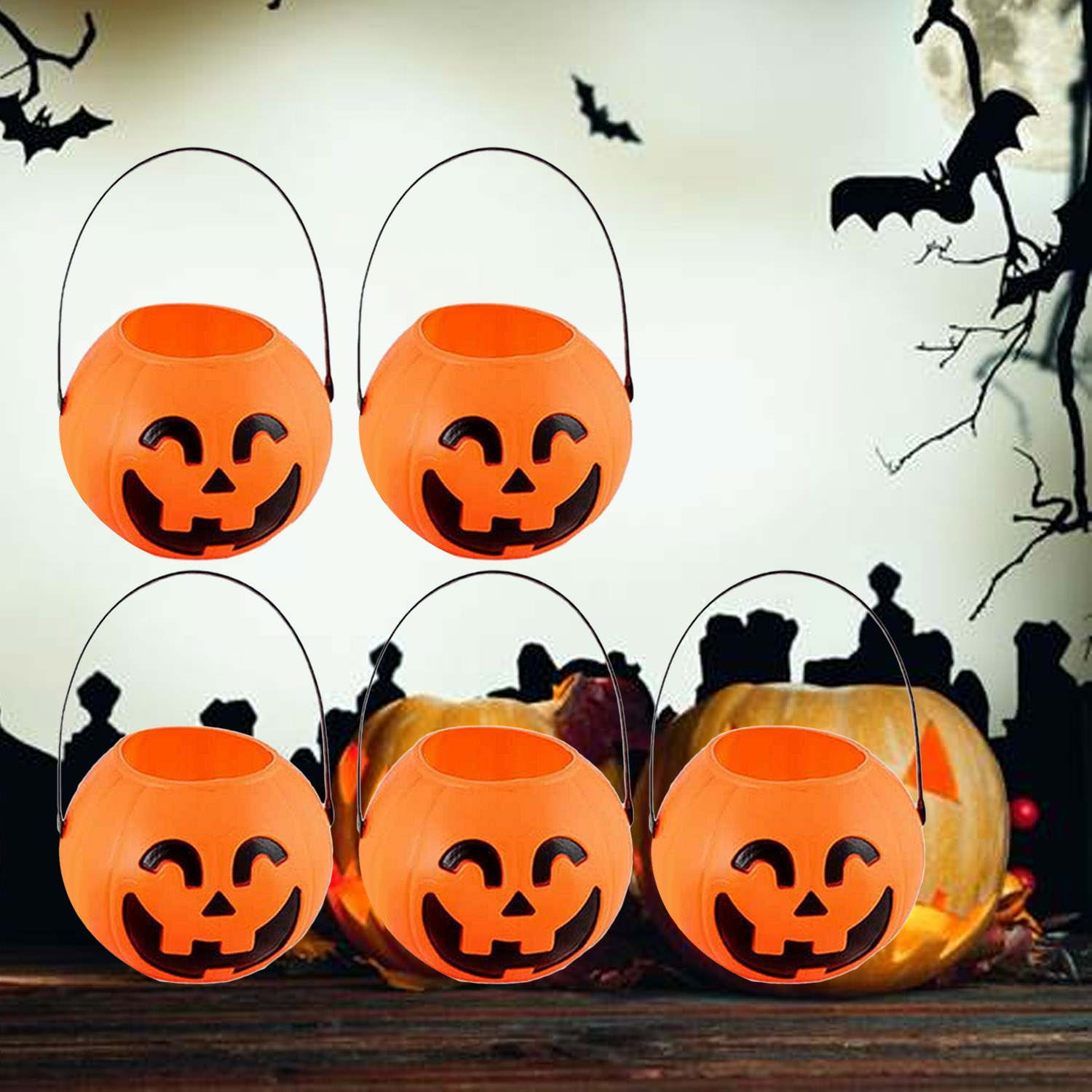 5PCS Portable Halloween Pumpkin Bucket Bag For Kids Children Candy Party Favors Decoration Supplies