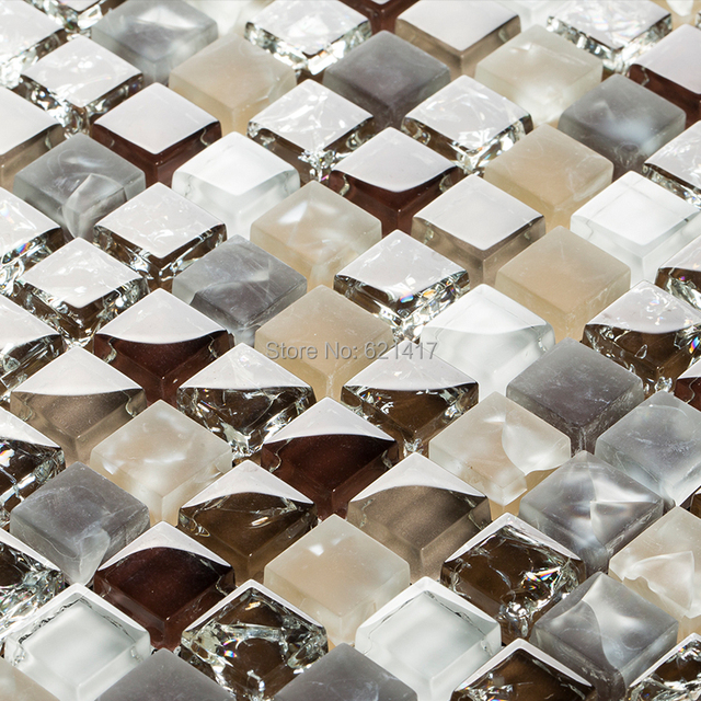 buy brown color ice crackle glass mosaic