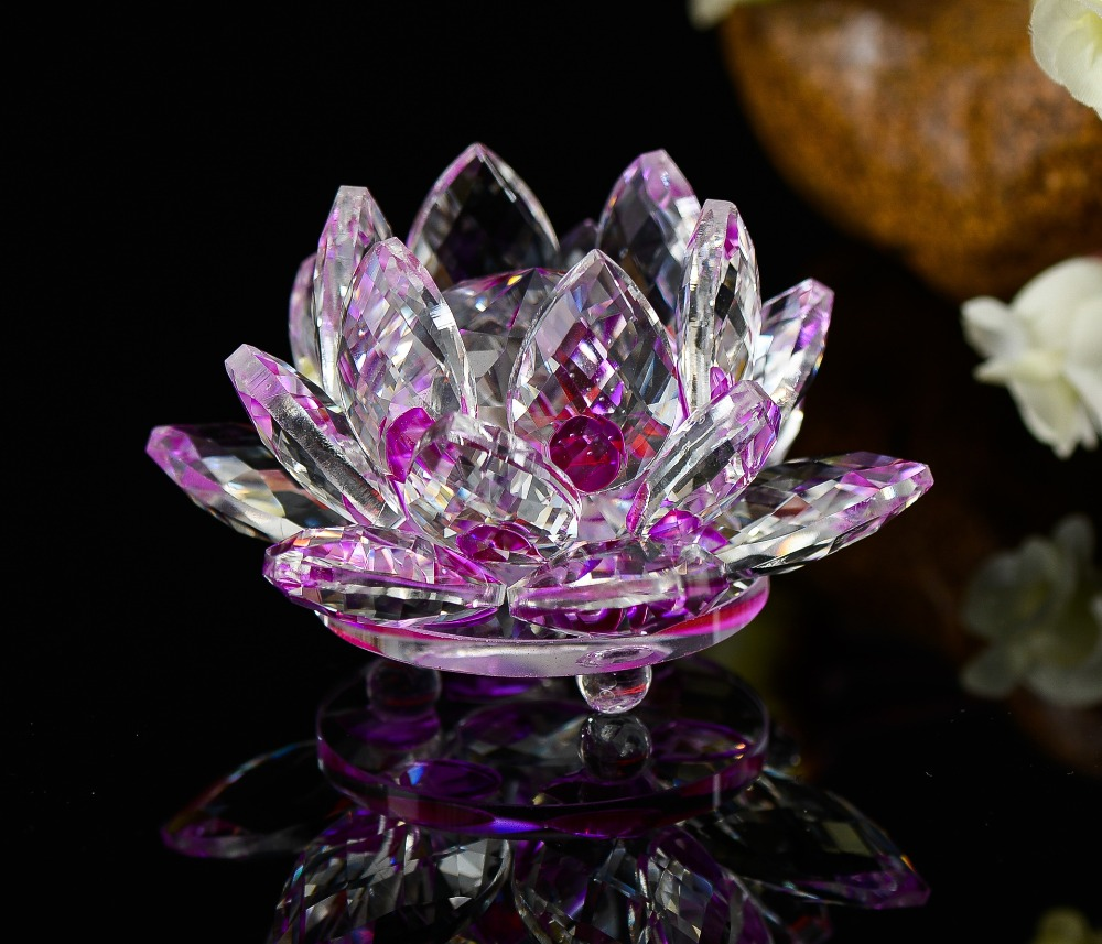 100mm Crystal Decorative Lotus Flower Handmade Crafts Natural Stones