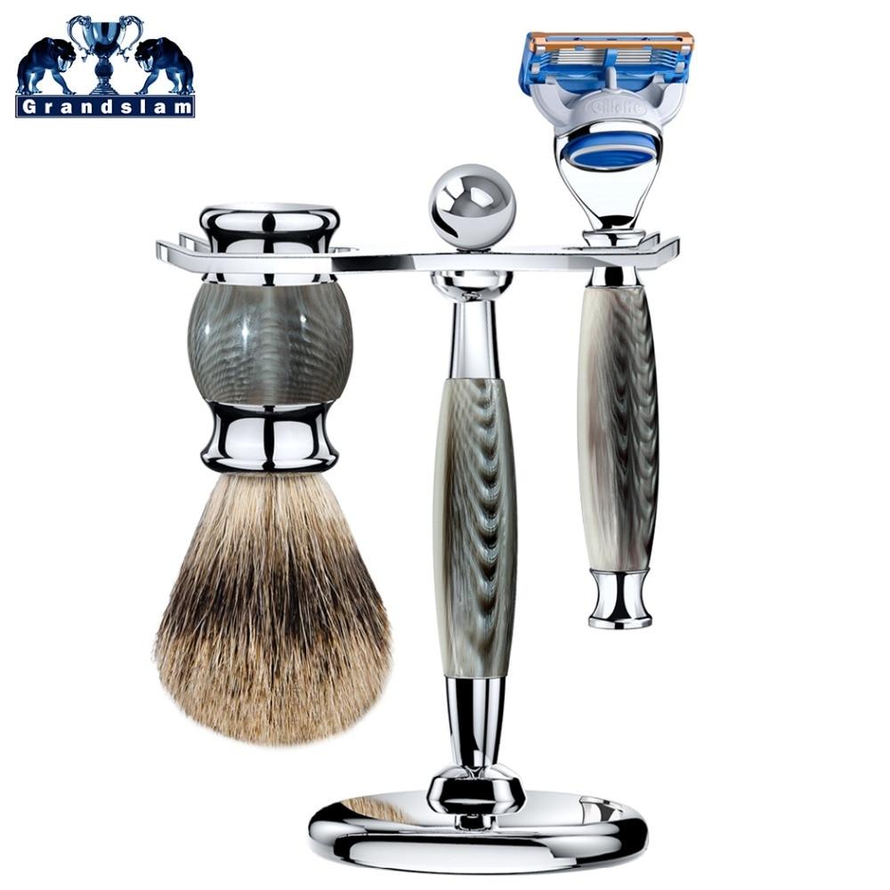 Grandslam Men Safety Shaving Razor Manual 5 Blade Shaving Razor Cartridge Shaver+Best Badger Shaving Brush+Razor Stand
