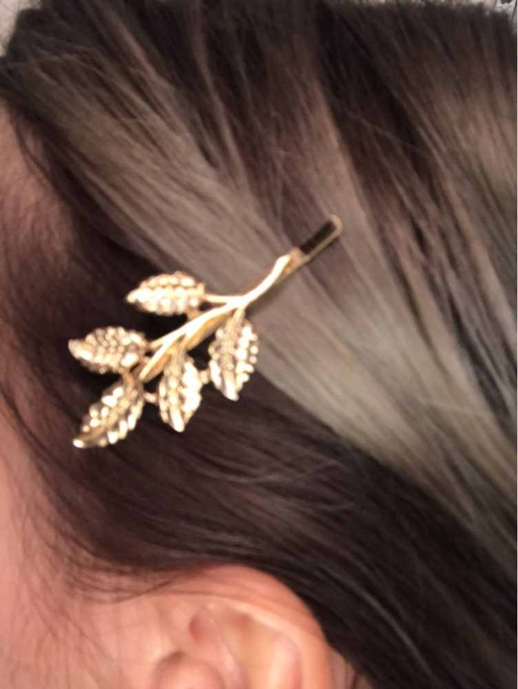 Mode Schöne Blätter Golden Metallpunkhaarnadel haarnadeln Haarspangen 4JWD28