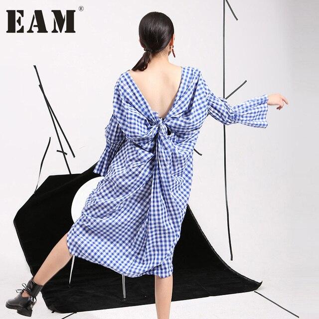 2017 новые весенние корейские темперамент полые назад дизайн раздвоение личности сладкий платье в клетку оптовая продажа 8315