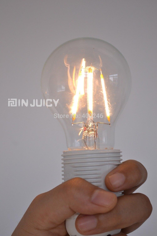 ФОТО 4PCS/LOT COB Edison Led Ball A19 4W E27 Screw Filament Light Bulb Old Fasioned Warm White For Cafe Bar