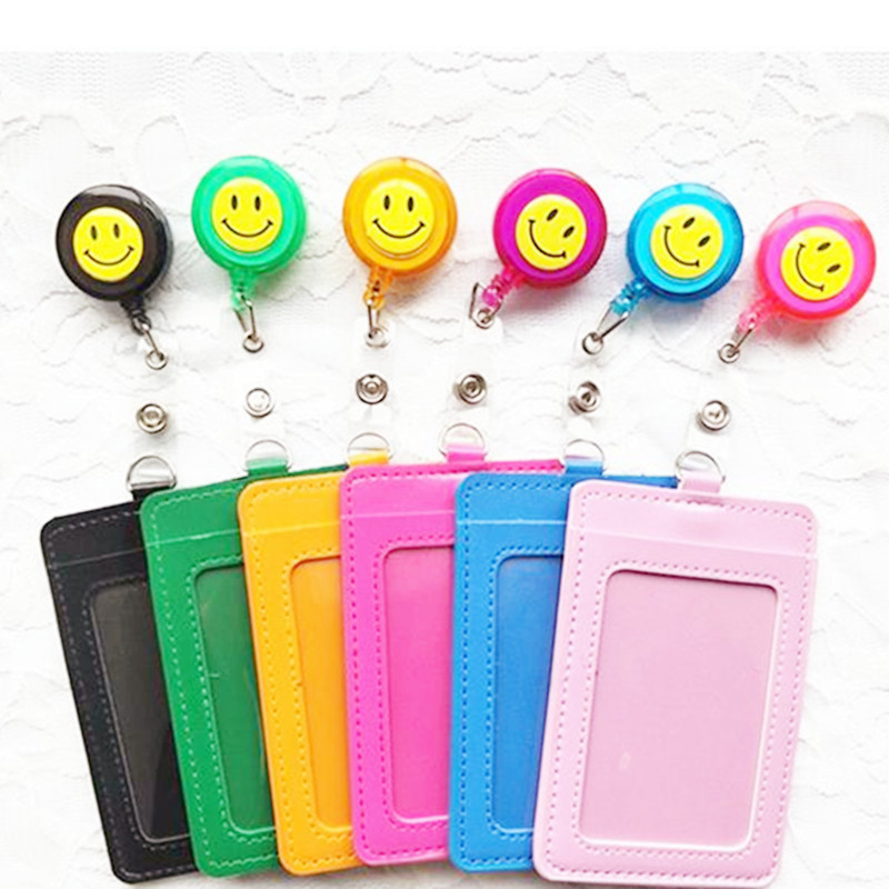 1pcs PU Leather Badge Card Case With Plastic Retractable Badge Reel Name Tag Accessories