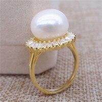 Вечное Свадебное женское Подарочное слово 925 Стерлинговое Серебро, Настоящее новое супер пресноводное безупречное жемчужное кольцо 925 сере