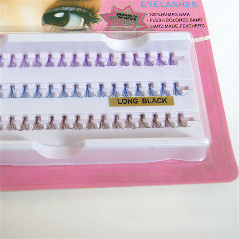 3 colores 60 grupo pestañas cabello humano pestañas individuales marrón púrpura azul mezclado en una bandeja pestaña color extensión del bandejas