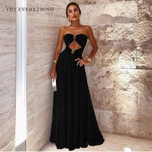 Black Sexy Dress Women Summer 2019 Fashion New Cut Out Strapless Club Party Dress Ladies Backless A Line Long Dresses For Women concise cut out raglan sleeve black dress for women