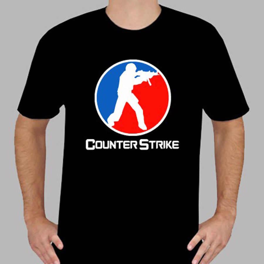 New Counter Strike Logo Online Game Men's Black T-Shirt Size S To 3XL T Shirt Men Tees Brand Clothing Funny Youth