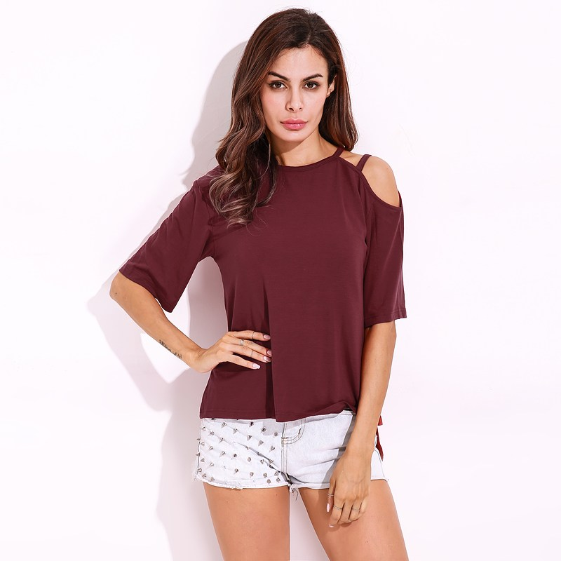 455eb36b8a68b2 FLORHO Women T Shirt Summer Autumn Ladies Round Neck Short Sleeve Cut Out  Solid T-shirts Girl Tops Casual Sexy T-shirt Plus Size