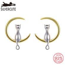 цены Silvercute 925 Sterling Silver Cat on the Moon Stud Earrings For Women Minimalist Fine Jewelry Gold Color Cute Brincos SCE6010BK