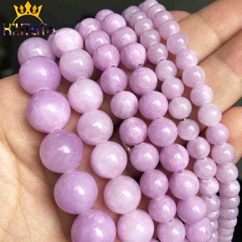 Naturalne światło fioletowe Jades koraliki okrągły chalcedon luźne kamień koraliki do tworzenia biżuterii bransoletka Zrób To Sam naszyjnik 15 ''6/8 /10/12mm