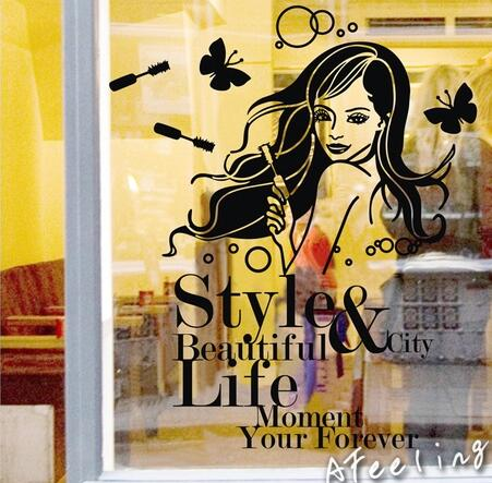 China Beautiful Girl Wallpaper Cosmetics Shop Beauty Salon Shops Showcase Sticker Window