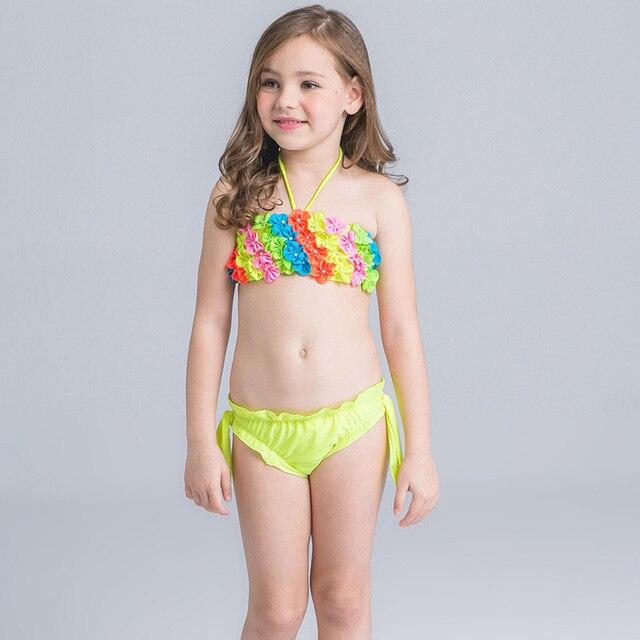 Children Swimsuit Baby Girl 3D Flower Bikinis Set Child -2591