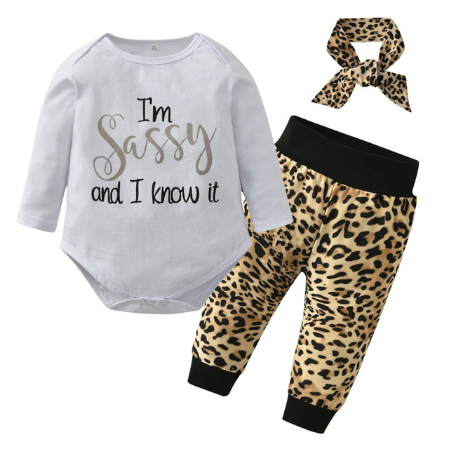 a149f27bbae0 Infant Clothing 3Pcs Newborn Baby Girls Clothes Sets Long Sleeve Letter  Tops Romper+Leopard Pants+Headband Toddler Outfits