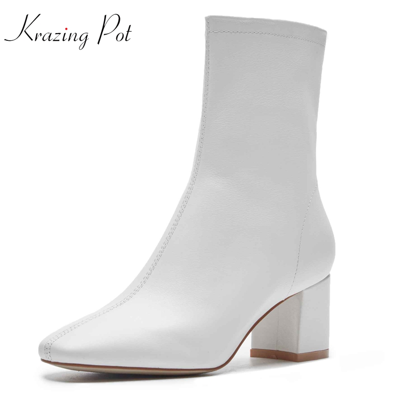 Krazing pot genuine leather Winter women brand ankle boots style square toe vintage design gladiator oxfords