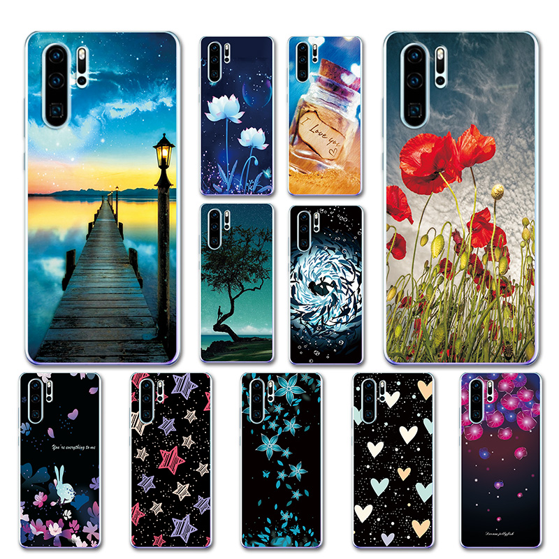 Silicone Cover For Huawei P30 Pro Pretty Sky Case Shell For Huawei P30Pro P30 Lite Love Heart Phone Bags P30 Pro VOG-L29 ELE-L29