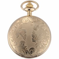Golden Tone Round Hunter Case Nurse Clock Crown Jewel Relogio 34cm Chain Clip Fobs Pendant Quartz