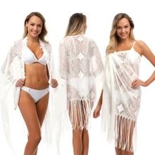 2018 New Sexy Black White Tassel Beach Tunic Cover Up Female Hollow Out Beach Dress Beach Wear Beachwear Women Saida De Praia