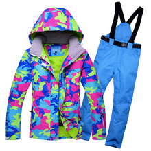 2019 RIVIYELE new Woman Snow Jackets Ladies Ski suit sets Female Snowboarding clothing outdoor sports Costumes ski  pant 2018 new lover men and women windproof waterproof thermal male snow pants sets skiing and snowboarding ski suit men jackets