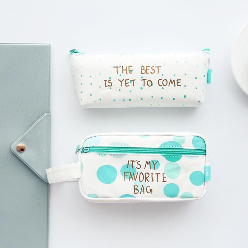 Fresh green pencil case school creative stationery canvas bags mint green series cnd creative play цвет amuse mint 13 6 мл