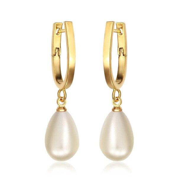 Gold Color U Circle Hoop Teardrop White Faux Pearl Drop Dangle Earrings For Women Penntes Aros