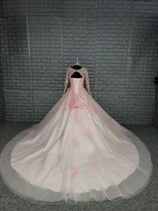 Image 2 - 블러쉬 핑크 긴 소매 웨딩 드레스 2019 빈티지 로브 드 mariage 게스트 드레스 레이스와 함께 다시 Applique 레이스 신부 가운