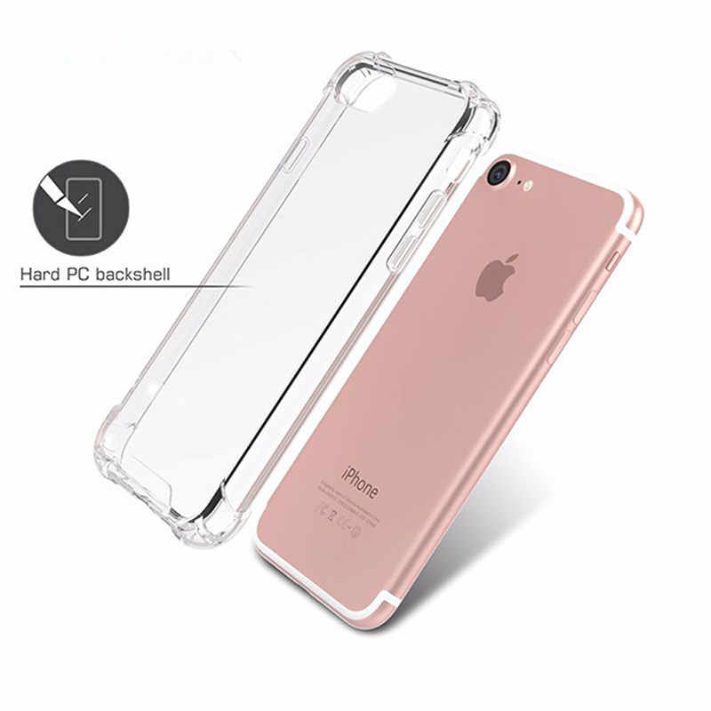Ultra Slim Transparente Macio TPU Caso de Telefone Para o iphone 7 8 Plus Capa Casos Claros Para iPhone X 6 s 8 7 Plus Caso Plugue Poeira 3 6