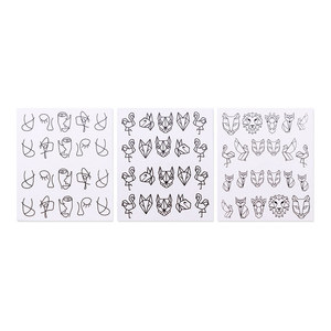 Image 5 - 3 sheets Nail Water Decals Cartoon Animal Transfer Stickers Abstract Image Geometry Linear Nail Art Slider Sticker Decoration