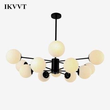 IKVVT Pendant Light Glass Indoor Lighting Lustre LED Light Fixtures For Restaurant Bedroom 6/8/12 Heads Globes LED Pendant Lamp