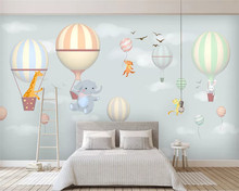beibehang papel de parede Custom hot air balloon elephant bunny hand-painted snowflake children's room wallpaper papier peint(China)