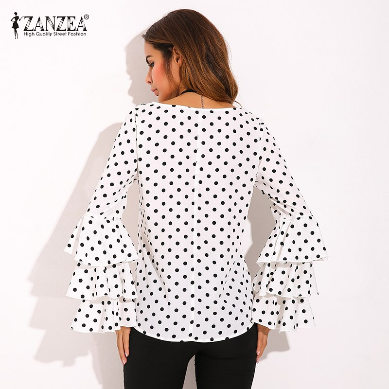 HTB11D25SpXXXXaAXXXXq6xXFXXXd - Womens Spring Flounce Long Sleeves Blouse Office