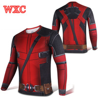 Cosplay Deadpool Tshirt Long Sleeve Compression Sweatshirt Men Hoodie Casual Sport Tops Costume WXC